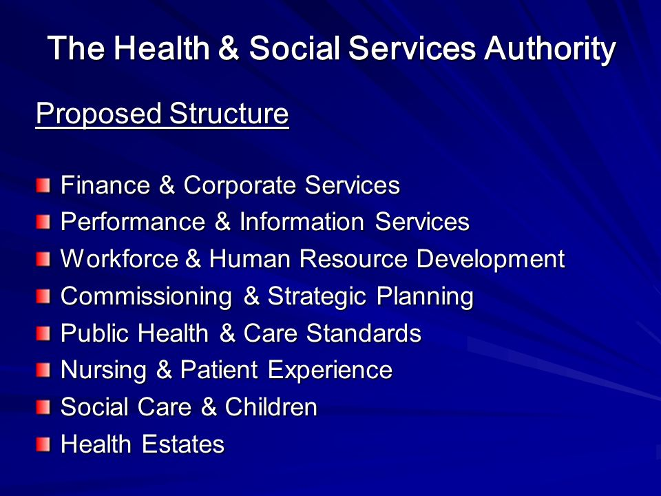 The Health & Social Services Authority Proposed Structure Finance & Corporate Services Performance & Information Services Workforce & Human Resource Development Commissioning & Strategic Planning Public Health & Care Standards Nursing & Patient Experience Social Care & Children Health Estates