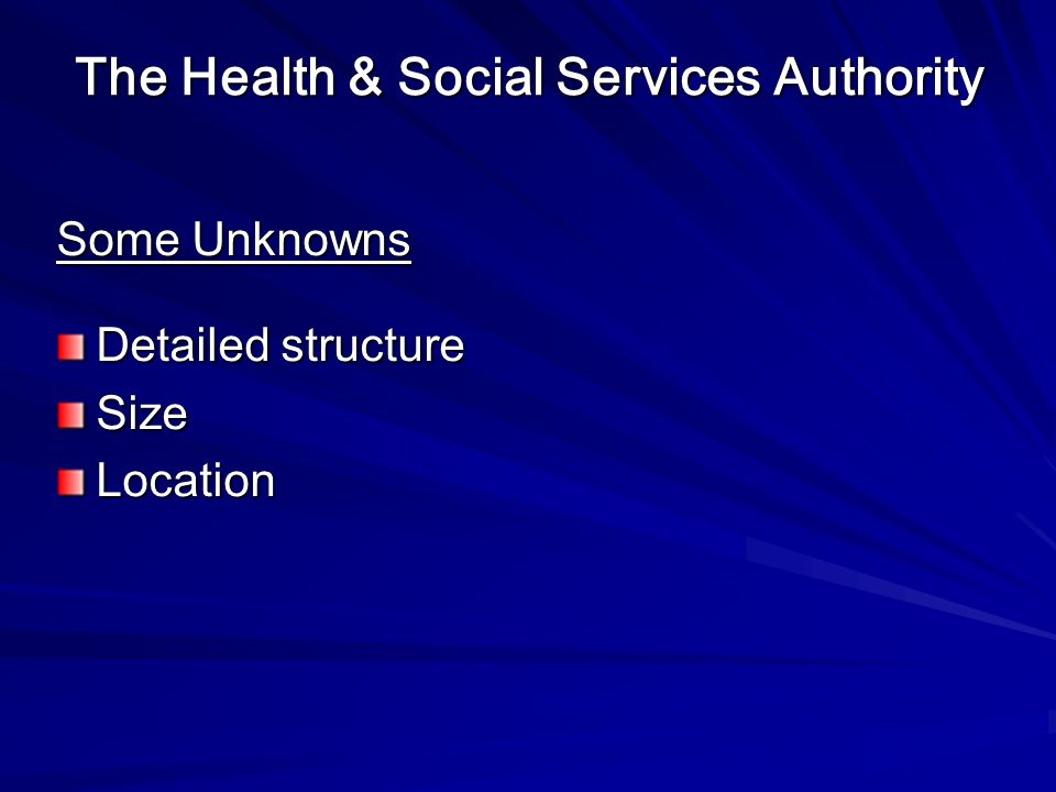 The Health & Social Services Authority Some Unknowns Detailed structure SizeLocation