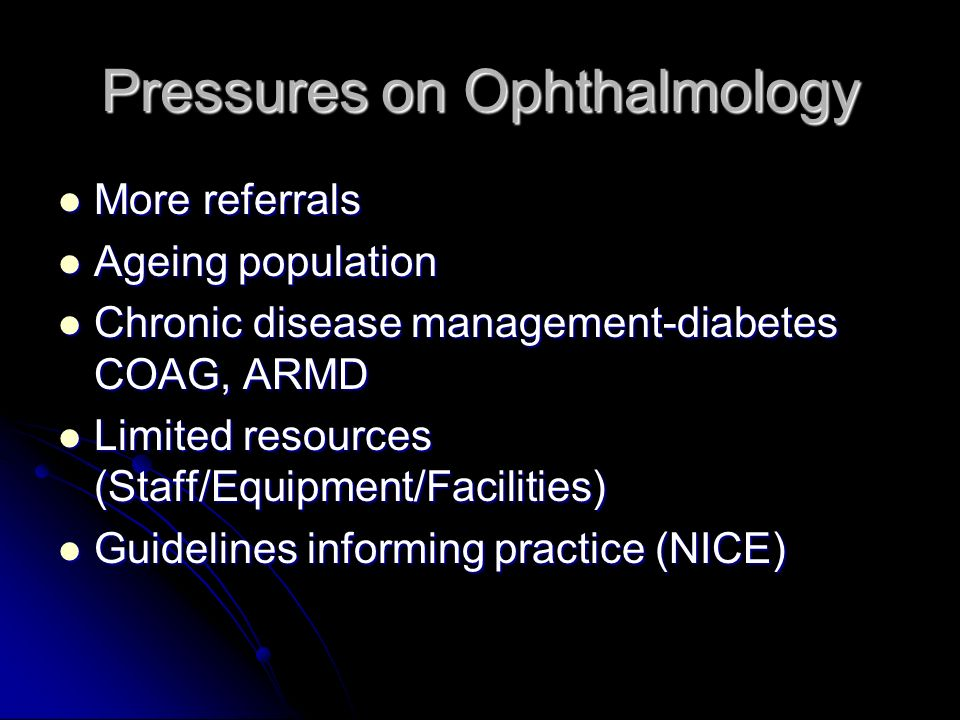 Pressures on Ophthalmology More referrals More referrals Ageing population Ageing population Chronic disease management-diabetes COAG, ARMD Chronic disease management-diabetes COAG, ARMD Limited resources (Staff/Equipment/Facilities) Limited resources (Staff/Equipment/Facilities) Guidelines informing practice (NICE) Guidelines informing practice (NICE)