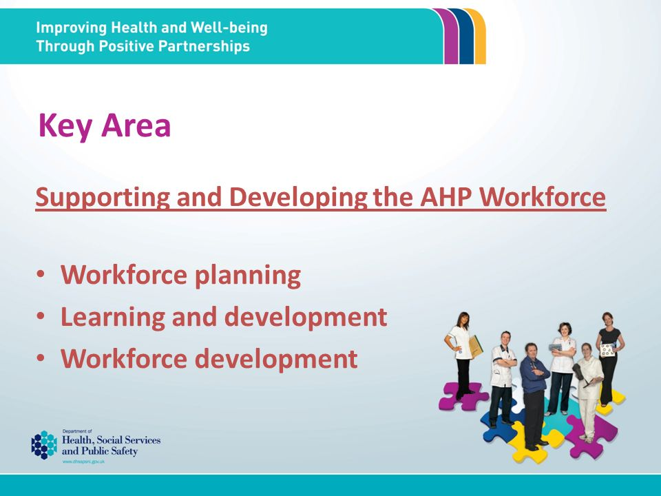 Key Area Supporting and Developing the AHP Workforce Workforce planning Learning and development Workforce development