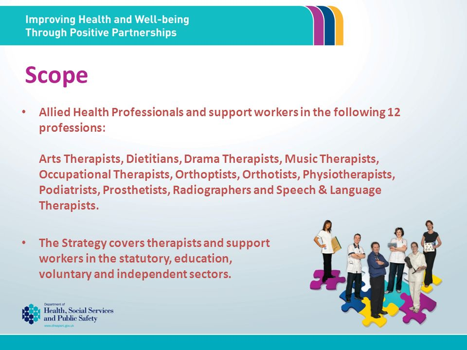 Scope Allied Health Professionals and support workers in the following 12 professions: Arts Therapists, Dietitians, Drama Therapists, Music Therapists, Occupational Therapists, Orthoptists, Orthotists, Physiotherapists, Podiatrists, Prosthetists, Radiographers and Speech & Language Therapists.