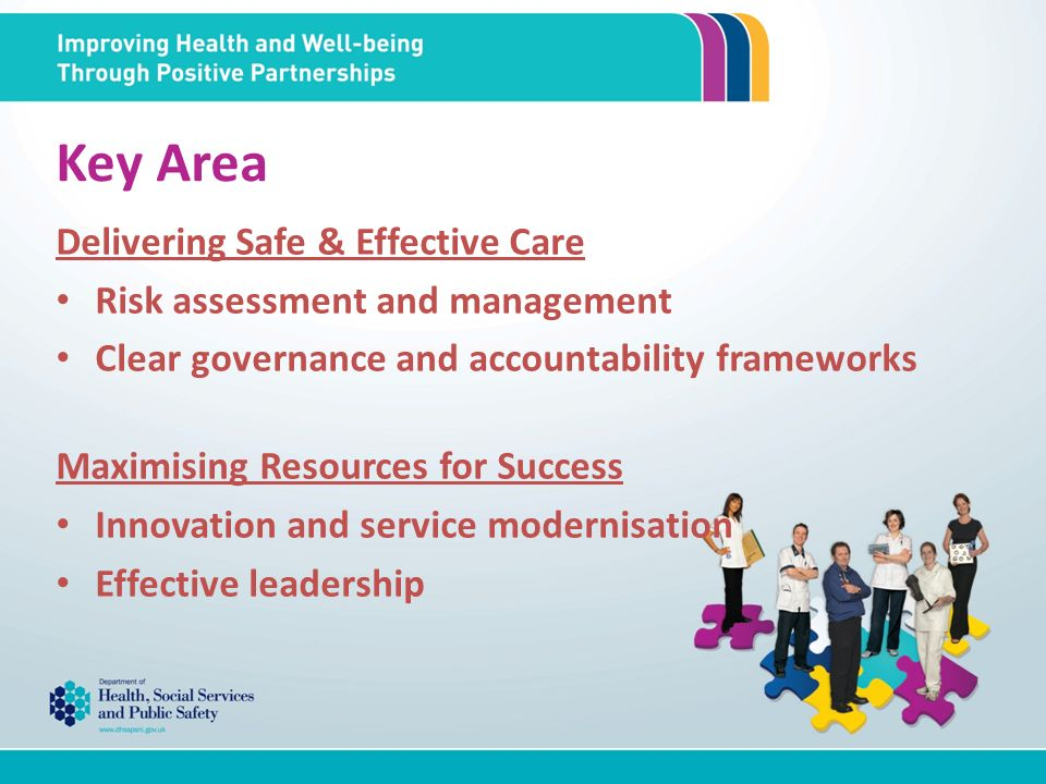 Key Area Delivering Safe & Effective Care Risk assessment and management Clear governance and accountability frameworks Maximising Resources for Success Innovation and service modernisation Effective leadership