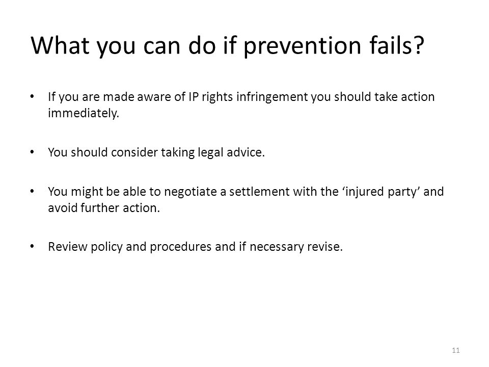 What you can do if prevention fails.