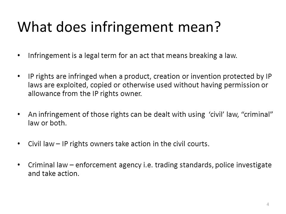 What does infringement mean. Infringement is a legal term for an act that means breaking a law.