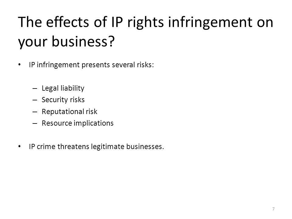 The effects of IP rights infringement on your business.