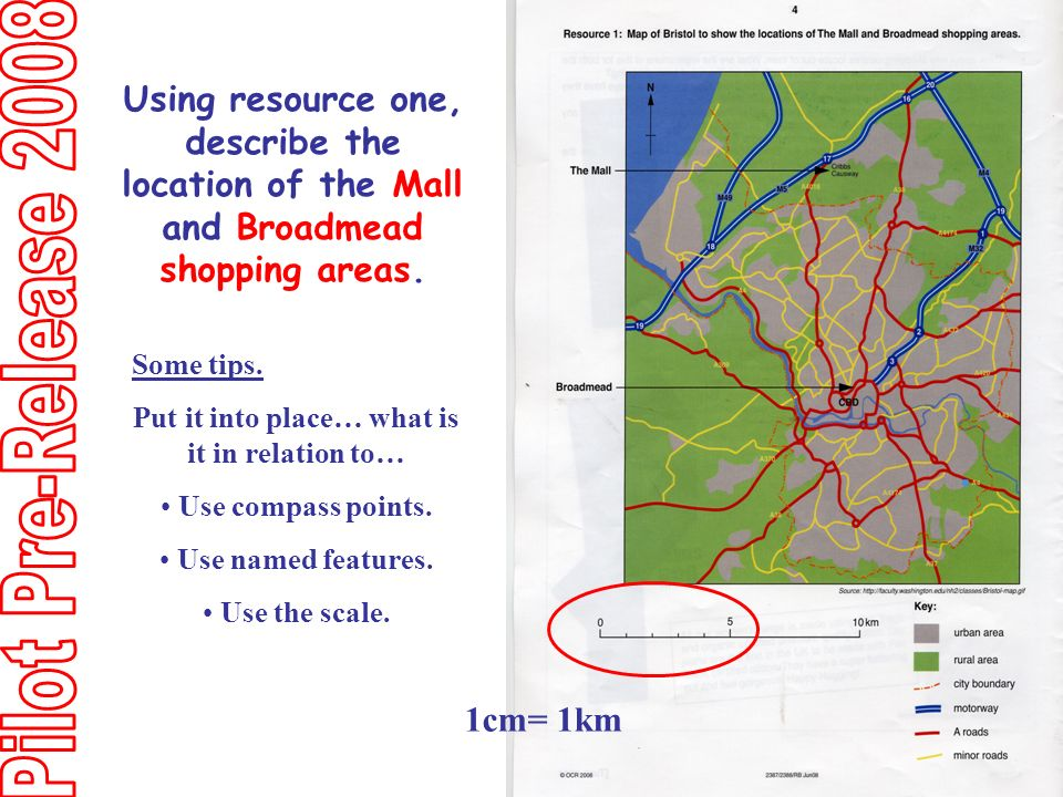Using resource one, describe the location of the Mall and Broadmead shopping areas.