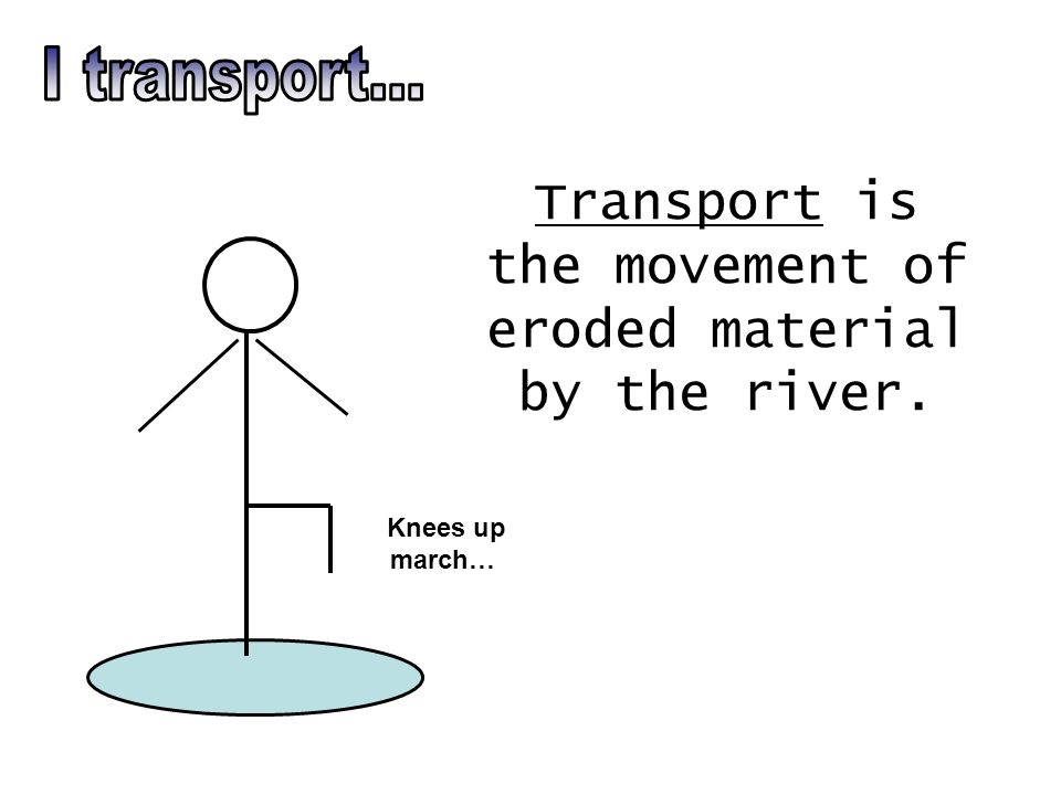 Transport is the movement of eroded material by the river. Knees up march…
