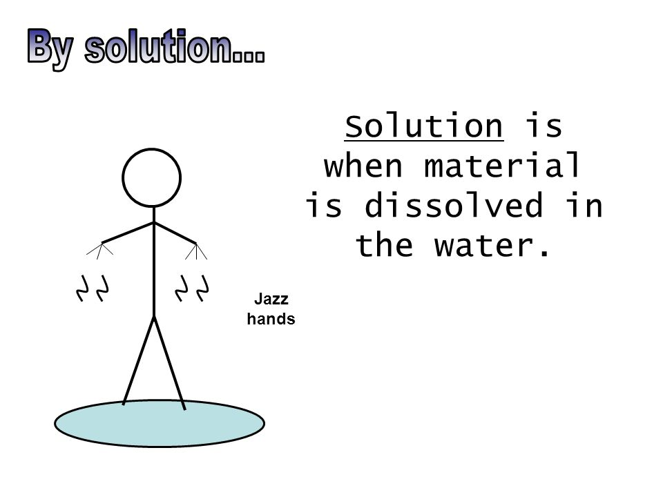 Solution is when material is dissolved in the water. Jazz hands