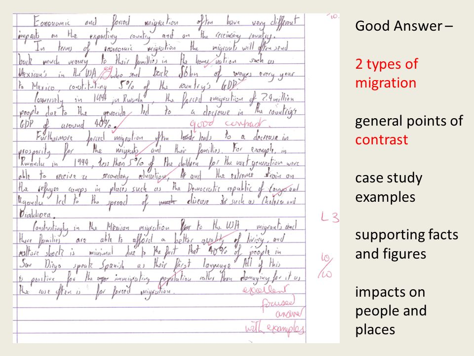 Good Answer – 2 types of migration general points of contrast case study examples supporting facts and figures impacts on people and places