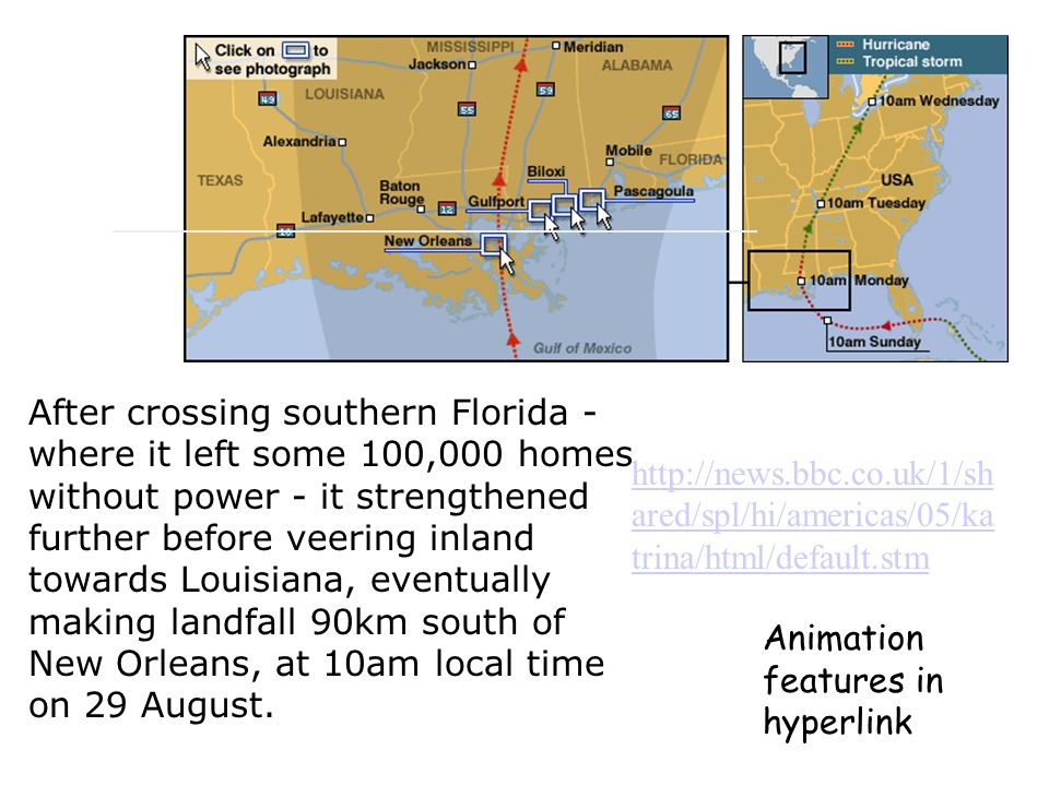 After crossing southern Florida - where it left some 100,000 homes without power - it strengthened further before veering inland towards Louisiana, eventually making landfall 90km south of New Orleans, at 10am local time on 29 August.