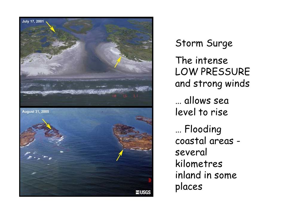 Storm Surge The intense LOW PRESSURE and strong winds … allows sea level to rise … Flooding coastal areas - several kilometres inland in some places