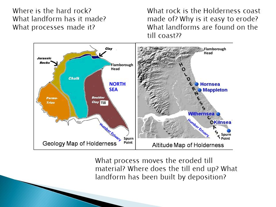 Where is the hard rock. What landform has it made.