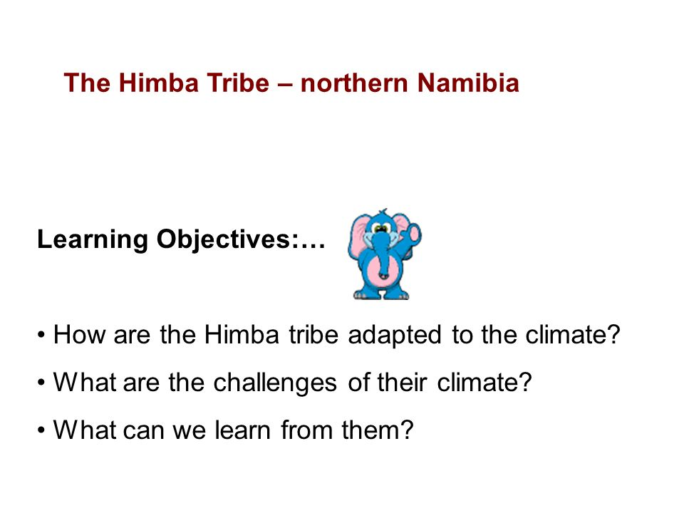 Learning Objectives:… How are the Himba tribe adapted to the climate.