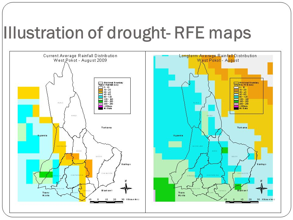 Illustration of drought- RFE maps