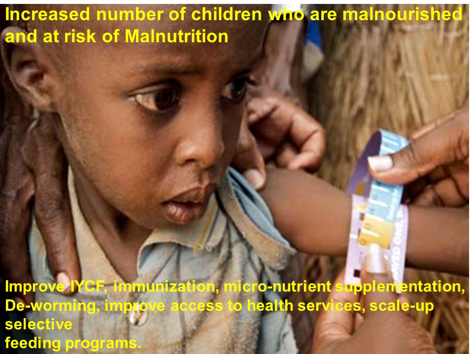 Increased number of children who are malnourished and at risk of Malnutrition Improve IYCF, immunization, micro-nutrient supplementation, De-worming, improve access to health services, scale-up selective feeding programs.