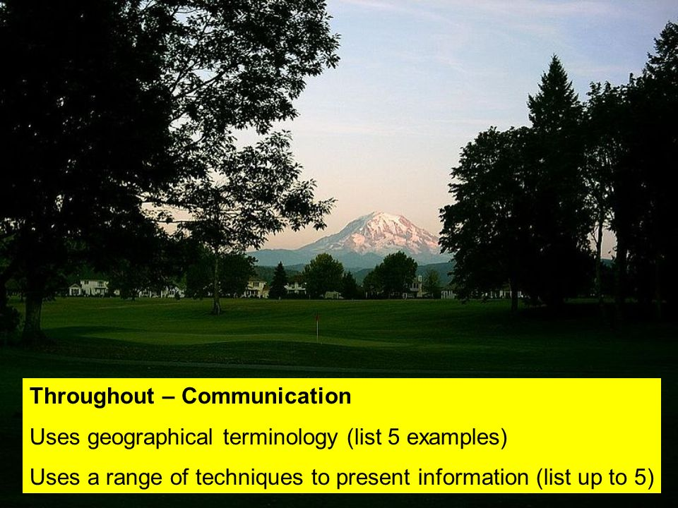 Throughout – Communication Uses geographical terminology (list 5 examples) Uses a range of techniques to present information (list up to 5)