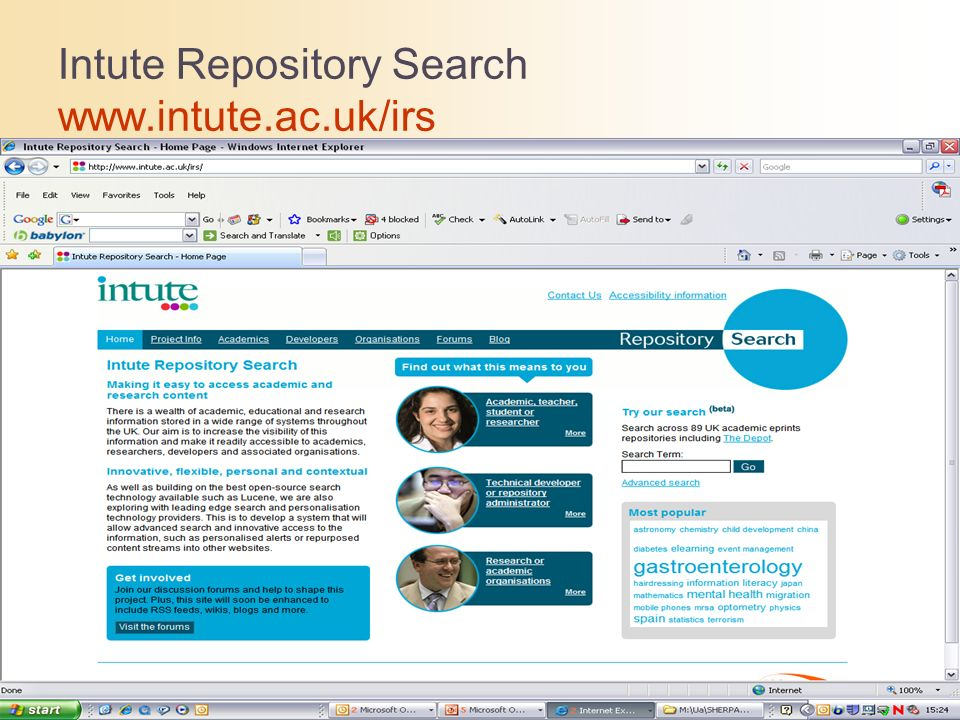 Intute Repository Search www.intute.ac.uk/irs