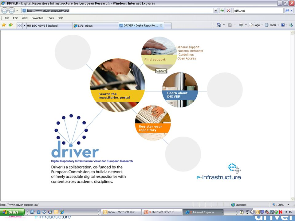 DRIVER website Screenshot 1: front page