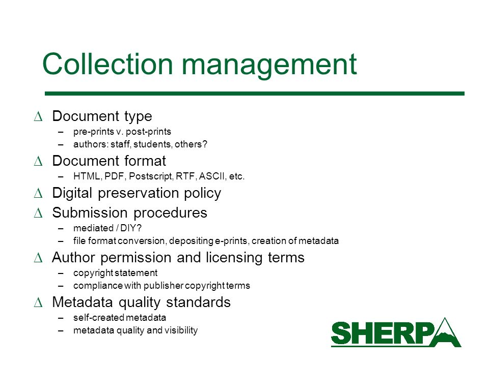Collection management Document type –pre-prints v.