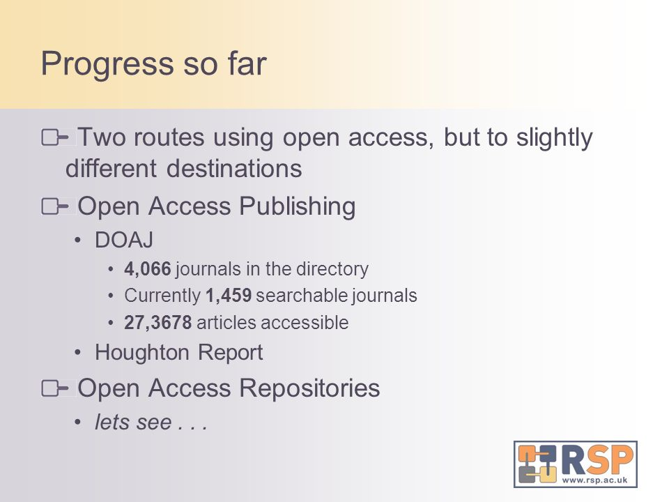 Progress so far Two routes using open access, but to slightly different destinations Open Access Publishing DOAJ 4,066 journals in the directory Currently 1,459 searchable journals 27,3678 articles accessible Houghton Report Open Access Repositories lets see...