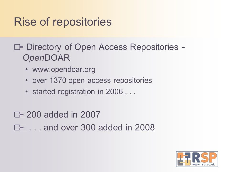 Rise of repositories Directory of Open Access Repositories - OpenDOAR www.opendoar.org over 1370 open access repositories started registration in 2006...