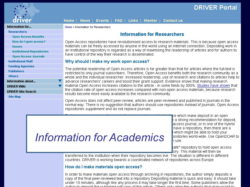 DRIVER Review, Athens 15 February 2008 Researchers Information for Academics