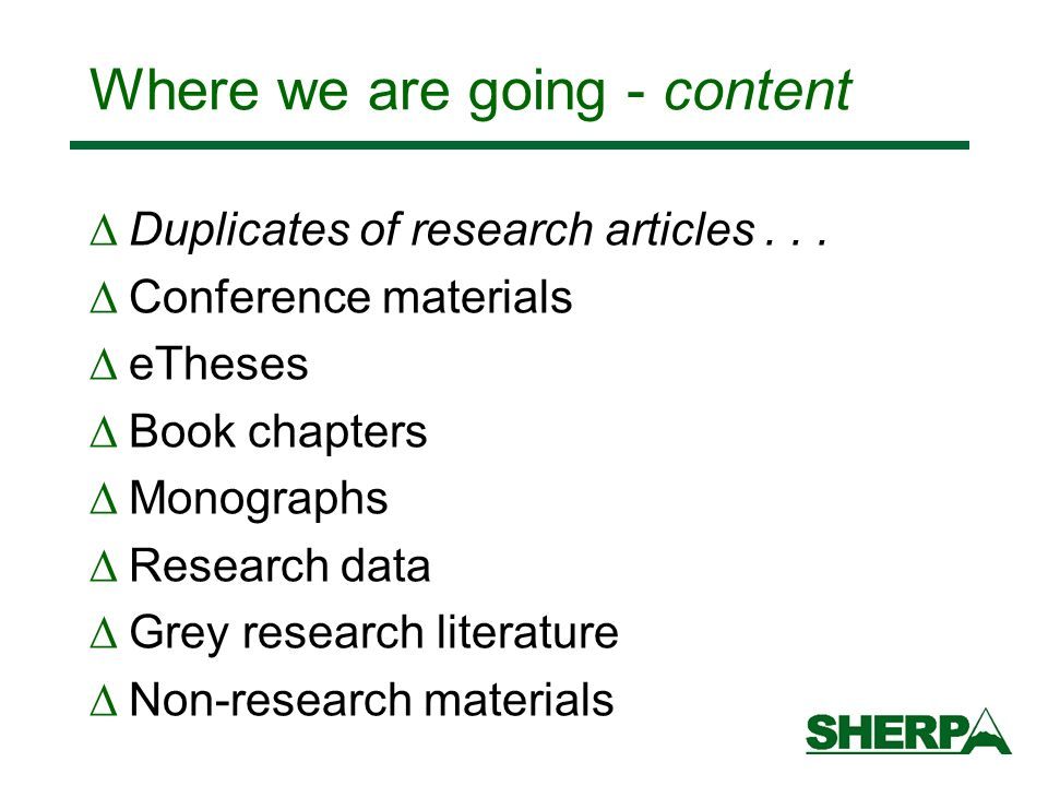 Where we are going - content Duplicates of research articles...
