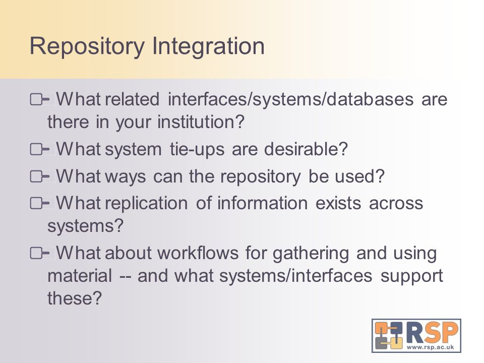 Repository Integration What related interfaces/systems/databases are there in your institution.