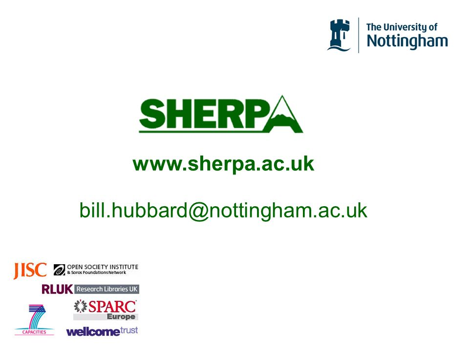 www.sherpa.ac.uk bill.hubbard@nottingham.ac.uk