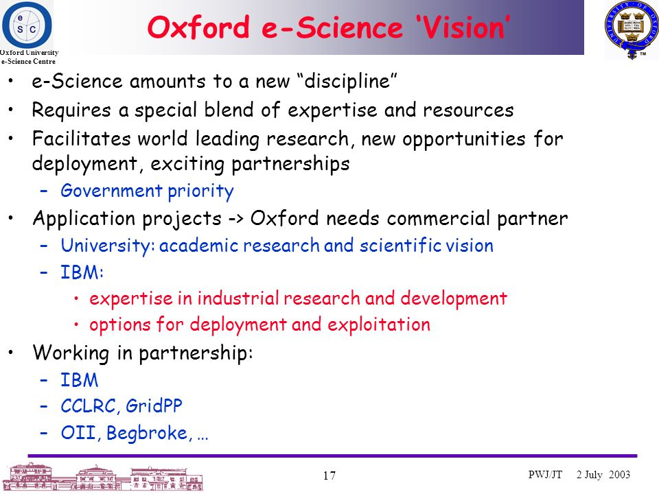 Oxford University e-Science Centre 17 PWJ/JT 2 July 2003 Oxford e-Science Vision e-Science amounts to a new discipline Requires a special blend of expertise and resources Facilitates world leading research, new opportunities for deployment, exciting partnerships –Government priority Application projects -> Oxford needs commercial partner –University: academic research and scientific vision –IBM: expertise in industrial research and development options for deployment and exploitation Working in partnership: –IBM –CCLRC, GridPP –OII, Begbroke, …