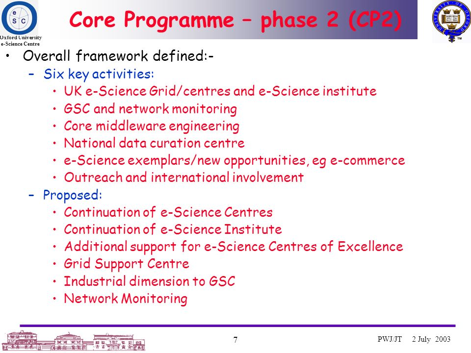 Oxford University e-Science Centre 7 PWJ/JT 2 July 2003 Core Programme – phase 2 (CP2) Overall framework defined:- –Six key activities: UK e-Science Grid/centres and e-Science institute GSC and network monitoring Core middleware engineering National data curation centre e-Science exemplars/new opportunities, eg e-commerce Outreach and international involvement –Proposed: Continuation of e-Science Centres Continuation of e-Science Institute Additional support for e-Science Centres of Excellence Grid Support Centre Industrial dimension to GSC Network Monitoring