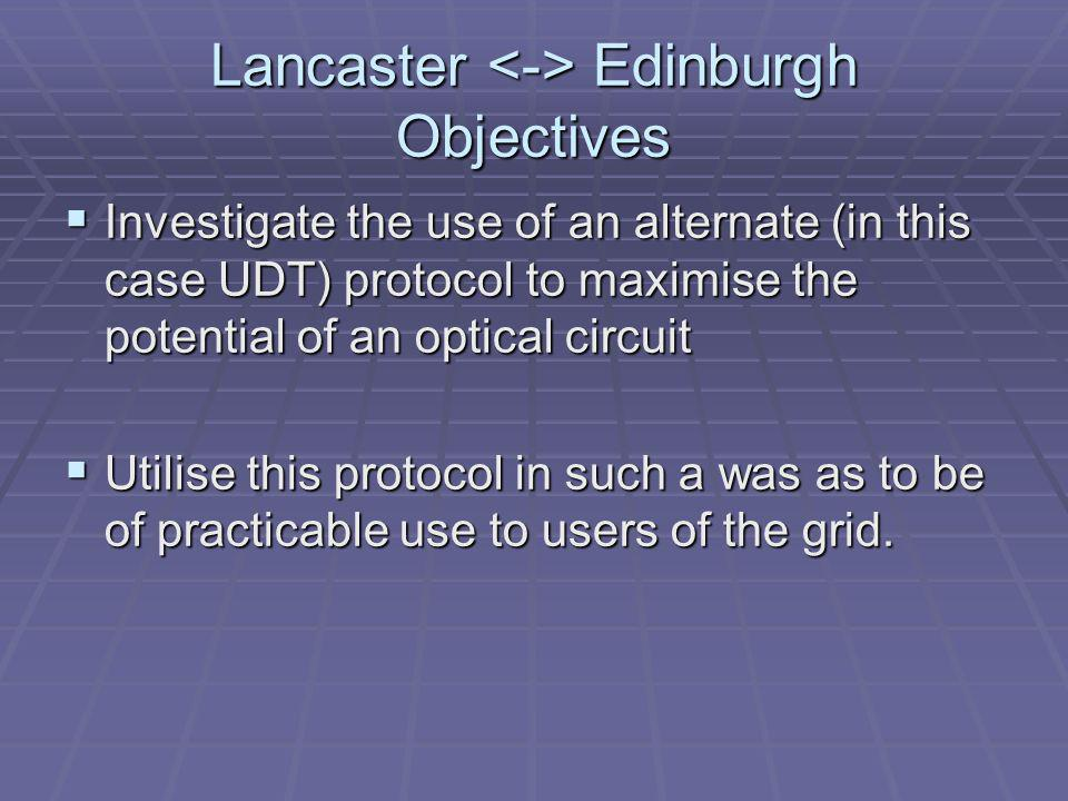 Lancaster Edinburgh Objectives Investigate the use of an alternate (in this case UDT) protocol to maximise the potential of an optical circuit Investigate the use of an alternate (in this case UDT) protocol to maximise the potential of an optical circuit Utilise this protocol in such a was as to be of practicable use to users of the grid.