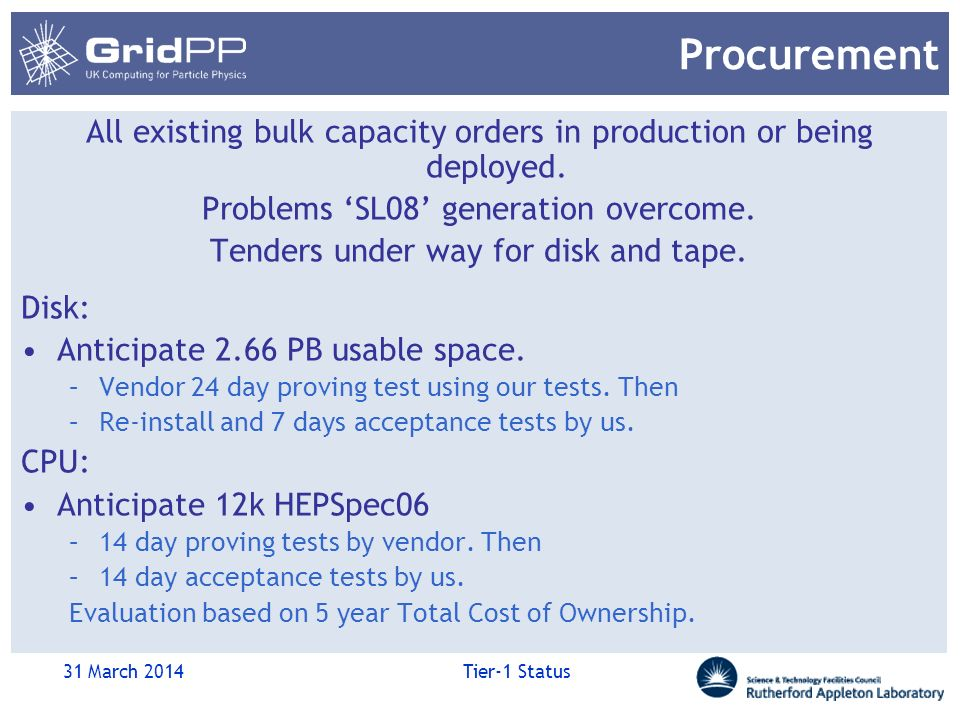 Procurement All existing bulk capacity orders in production or being deployed.