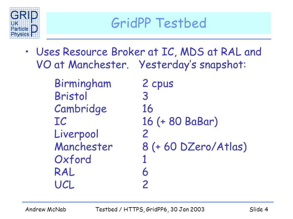 Andrew McNabTestbed / HTTPS, GridPP6, 30 Jan 2003Slide 4 GridPP Testbed Uses Resource Broker at IC, MDS at RAL and VO at Manchester.