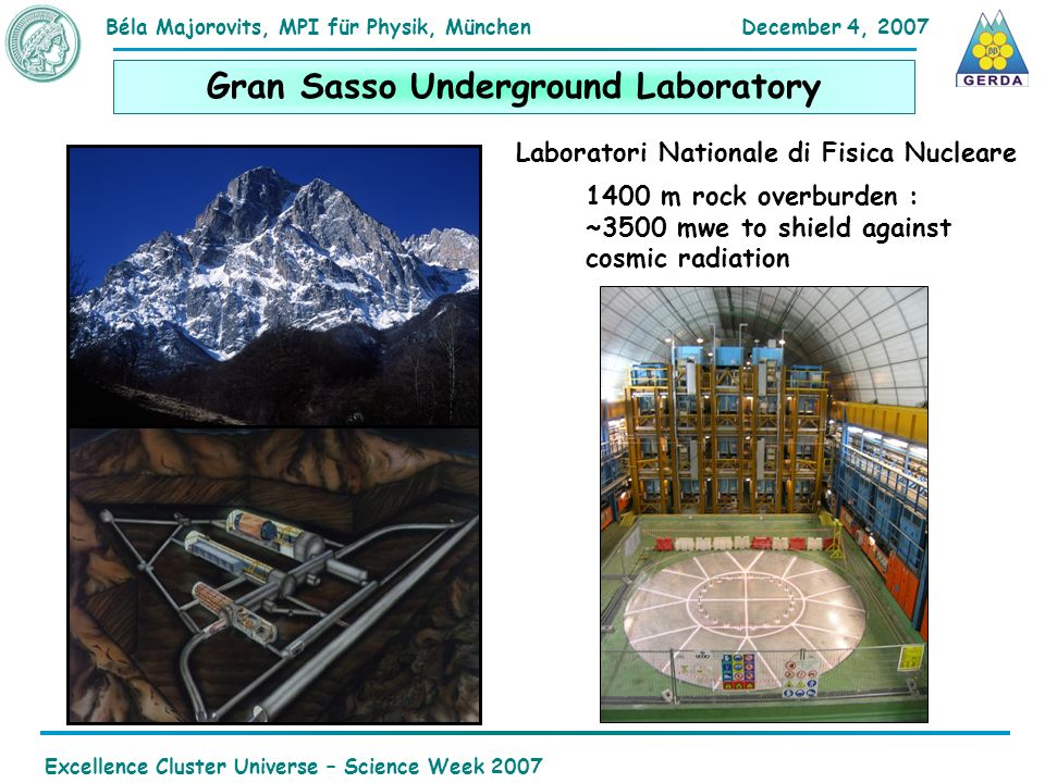 December 4, 2007Béla Majorovits,MPI für Physik, München Excellence Cluster Universe – Science Week 2007 Gran Sasso Underground Laboratory 1400 m rock overburden : ~3500 mwe to shield against cosmic radiation Laboratori Nationale di Fisica Nucleare