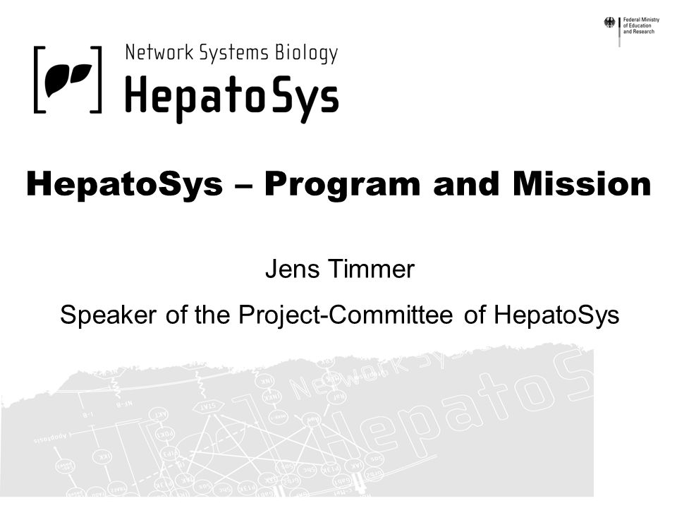 HepatoSys – Program and Mission Jens Timmer Speaker of the Project-Committee of HepatoSys