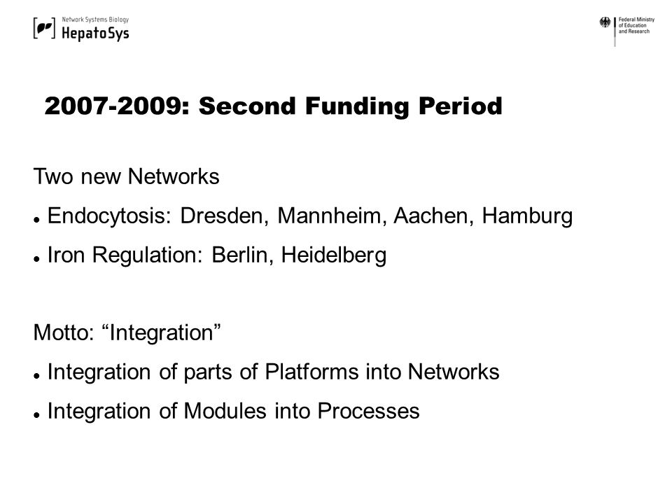 Two new Networks Endocytosis: Dresden, Mannheim, Aachen, Hamburg Iron Regulation: Berlin, Heidelberg Motto: Integration Integration of parts of Platforms into Networks Integration of Modules into Processes 2007-2009: Second Funding Period