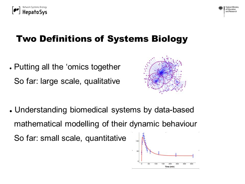 Putting all the omics together So far: large scale, qualitative Understanding biomedical systems by data-based mathematical modelling of their dynamic behaviour So far: small scale, quantitative Two Definitions of Systems Biology