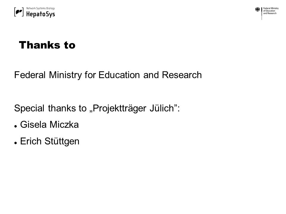 Federal Ministry for Education and Research Special thanks to Projektträger Jülich: Gisela Miczka Erich Stüttgen Thanks to