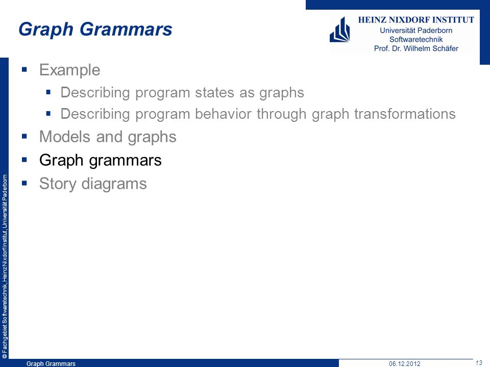© Fachgebiet Softwaretechnik, Heinz Nixdorf Institut, Universität Paderborn 13 Graph Grammars06.12.2012 Graph Grammars Example Describing program states as graphs Describing program behavior through graph transformations Models and graphs Graph grammars Story diagrams