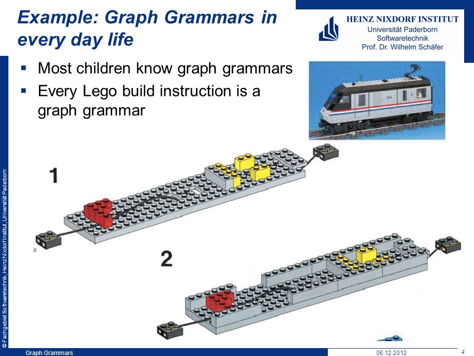 © Fachgebiet Softwaretechnik, Heinz Nixdorf Institut, Universität Paderborn 4 Graph Grammars06.12.2012 Example: Graph Grammars in every day life Most children know graph grammars Every Lego build instruction is a graph grammar