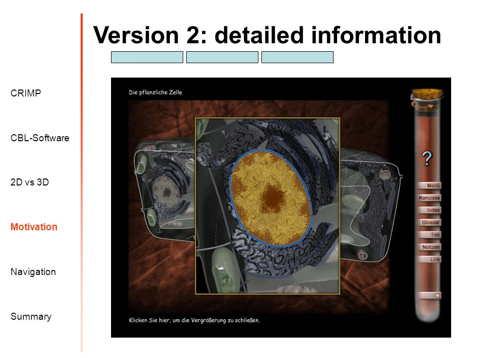 Version 2: detailed information Motivation CRIMP 2D vs 3D CBL-Software Navigation Summary