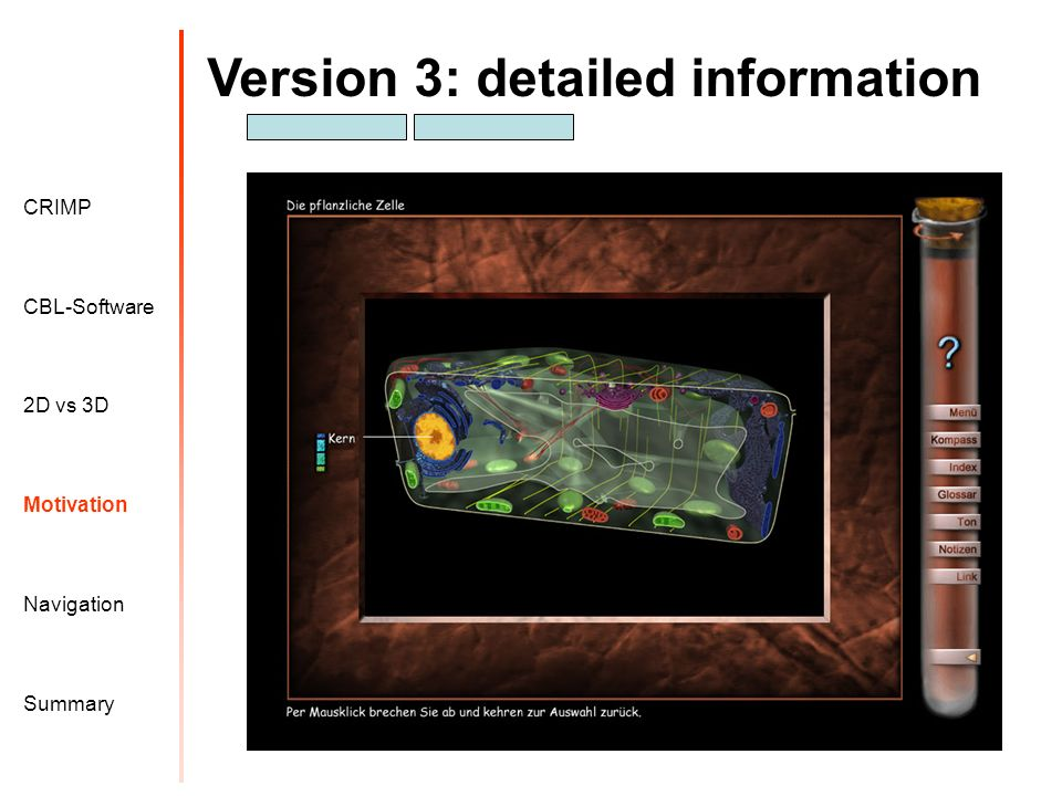 Version 3: detailed information Motivation CRIMP 2D vs 3D CBL-Software Navigation Summary