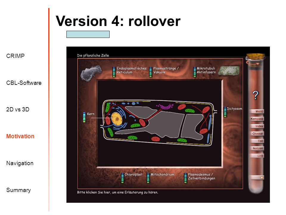 Version 4: rollover Motivation CRIMP 2D vs 3D CBL-Software Navigation Summary