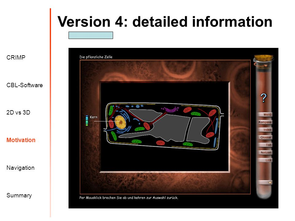 Version 4: detailed information Motivation CRIMP 2D vs 3D CBL-Software Navigation Summary