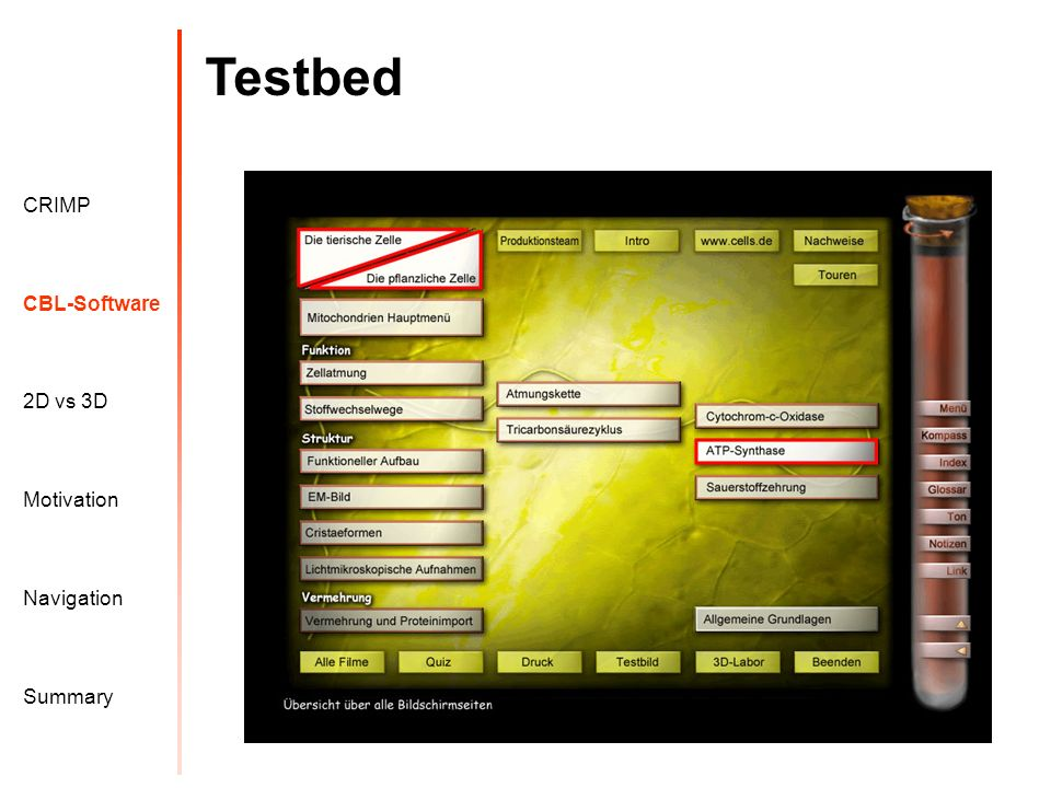 Testbed Motivation CRIMP 2D vs 3D CBL-Software Navigation Summary