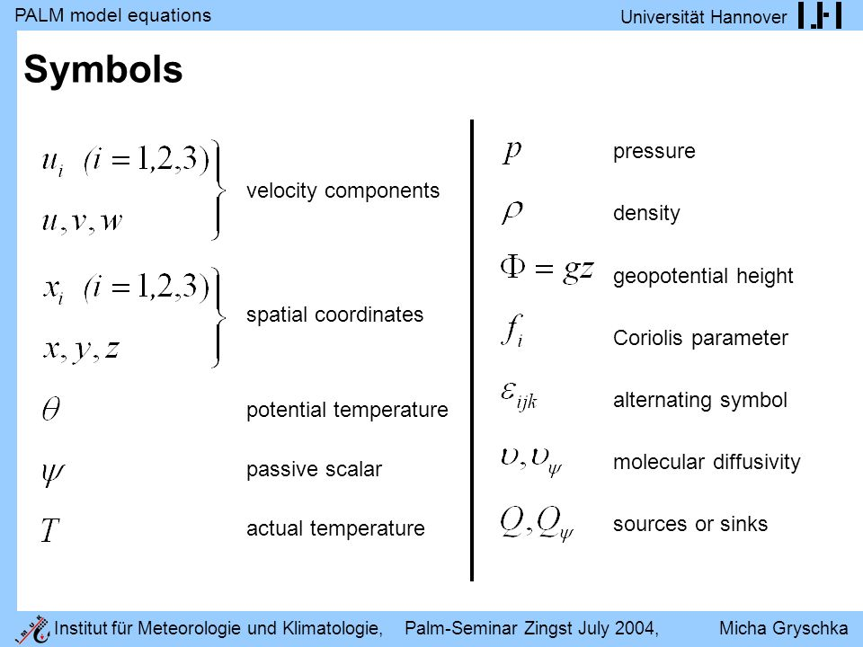 PALM model equations Universität Hannover Institut für Meteorologie und Klimatologie, Palm-Seminar Zingst July 2004, Micha Gryschka Symbols velocity components spatial coordinates potential temperature passive scalar actual temperature pressure density geopotential height Coriolis parameter alternating symbol molecular diffusivity sources or sinks