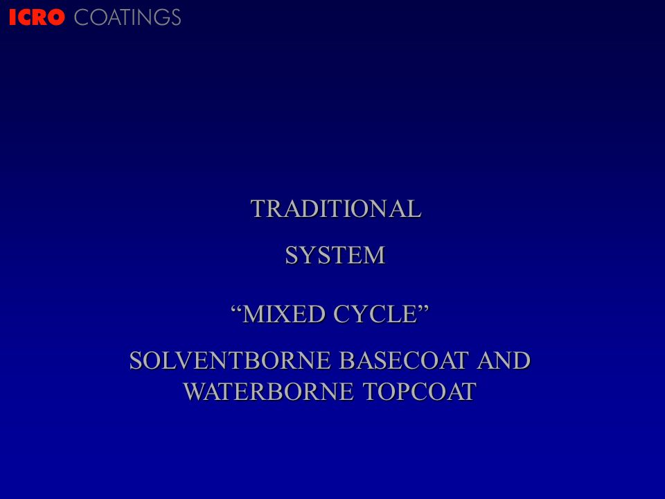 ICRO COATINGSTRADITIONALSYSTEM MIXED CYCLE SOLVENTBORNE BASECOAT AND WATERBORNE TOPCOAT