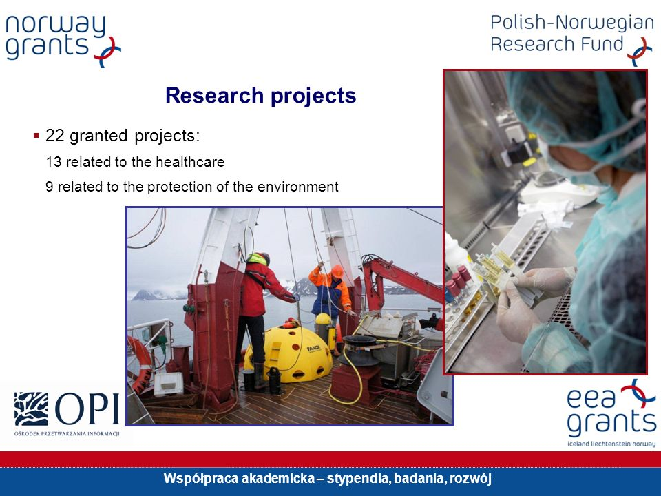 Współpraca akademicka – stypendia, badania, rozwój Research projects 22 granted projects: 13 related to the healthcare 9 related to the protection of the environment