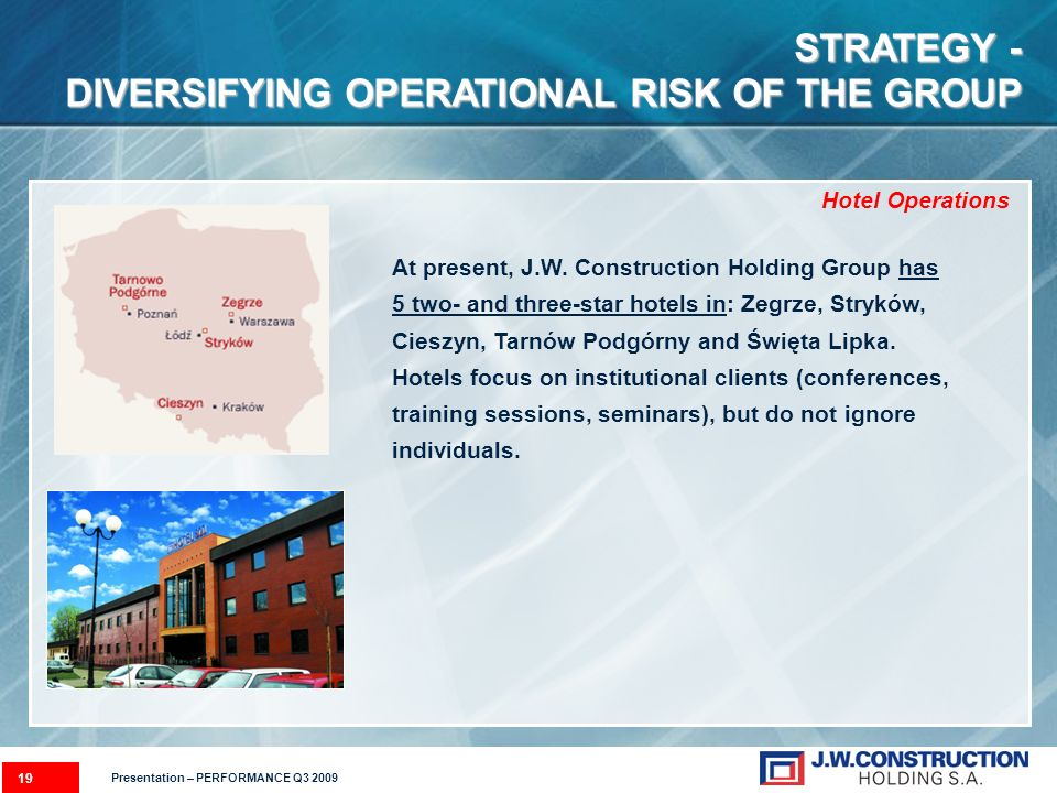 19 STRATEGY - DIVERSIFYING OPERATIONAL RISK OF THE GROUP At present, J.W.